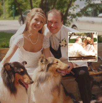 Sharing our wedding day with our collies!